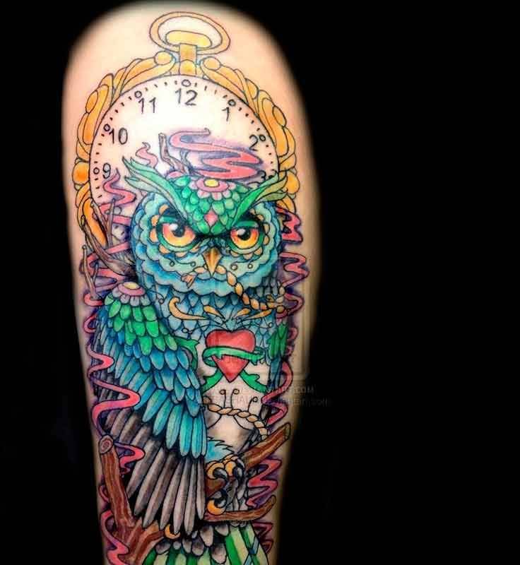 passionate blue green and yellow color ink animated owl tattoo on girl's sleeve for girls only made by expert