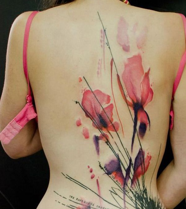 phenomenal Poppies tattoo on back With colourful ink For Man And Woman