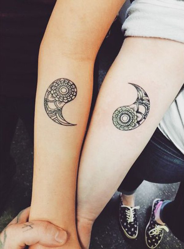Phenomenal Matching Yin Yang Tattoos With Black Ink For Man Woman