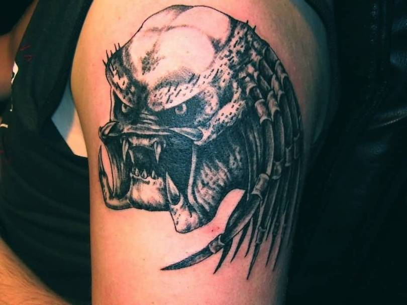 popular gray color ink Predator Head Tattoo For boys
