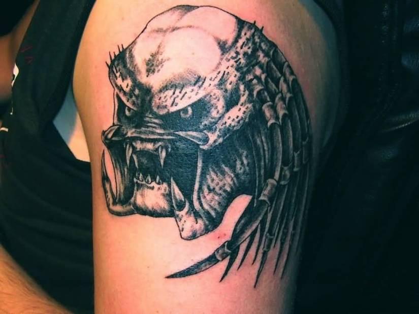popular gray color ink Predator Head Tattoo For boys