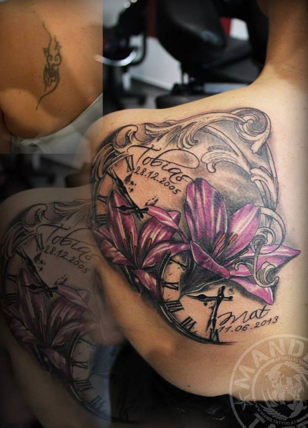 Unique Lily Cover Up Tattoo With Colourful Ink For Man And Woman