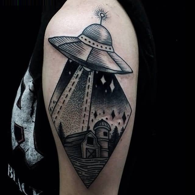 realistic black color ink Ufo And City Tattoo On Shoulder for boys
