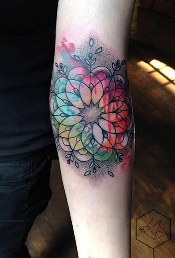 Sensational Mandala Watercolor Tattoo On Elbow For Man Woman