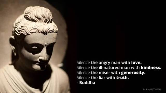 Silence The Angry Man With Love Silence The Ill Natured Man With Kindness Silence The Miser With Generosity Silence The Liar With Truth Buddha