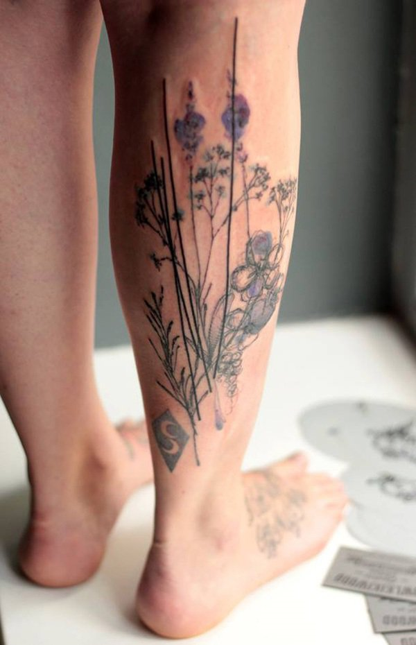Simple Calf Tattoo With Black Ink For Man Woman