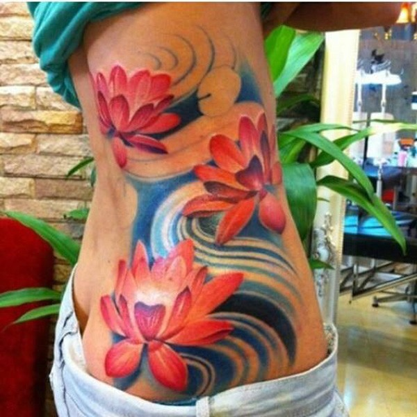 Simple Colorful Lotus Tattoo On Back With Colorful Ink For Man Woman