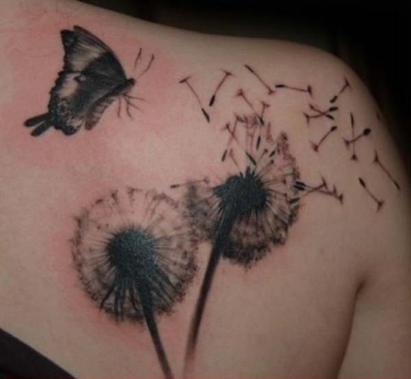 simple Dandelion Tattoos on back With Black ink For Man And Woman (2)