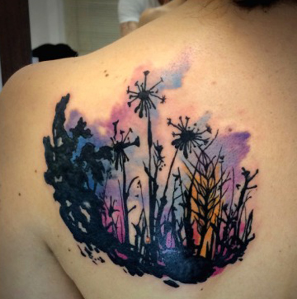 simple Dandelion Tattoos on back With colourful ink For Man And Woman