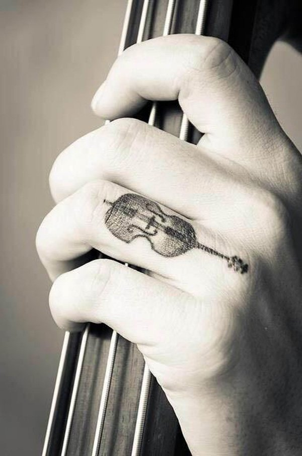 0894d9a0d4c2f Simple Melody Of The Violin Finger Tattoo With Black Ink For Man And Woman