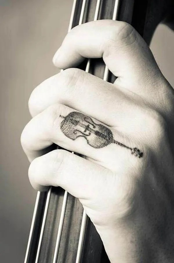Simple Melody Of The Violin Finger Tattoo With Black Ink For Man And Woman