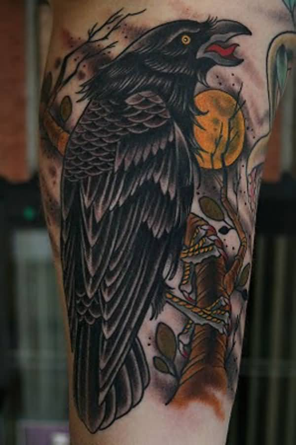 simple Raven Tattoo on arm with Black ink For Man And Woman