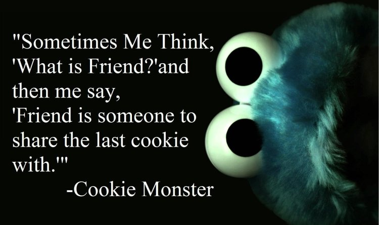 sometimes me think what is friend and then me say friend is someone to share the last cookie with cookie monster