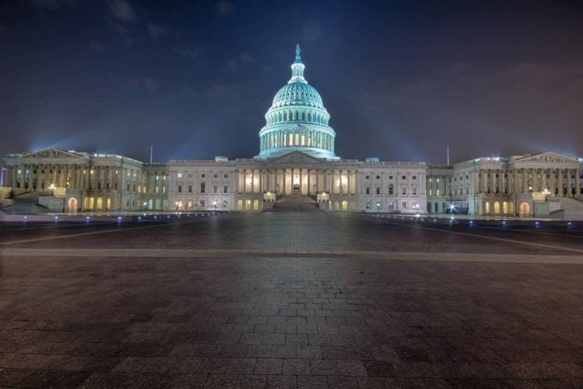 Stunning East Front Of The United States Capitol With Beautiful Light At Night