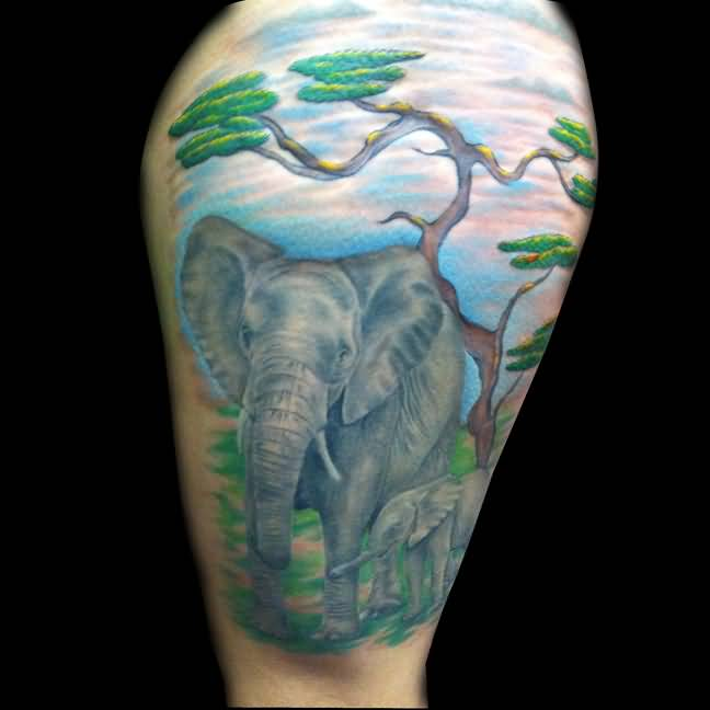 Stunning Colorful Ink Tattoo Of Baby Elephant For Man