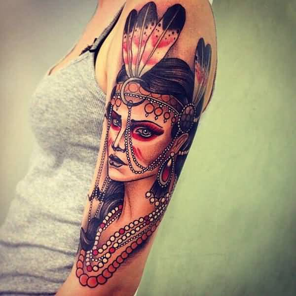 Stylish Native American Woman Upper Arm Tattoo With Colourful Ink For Man & Woman