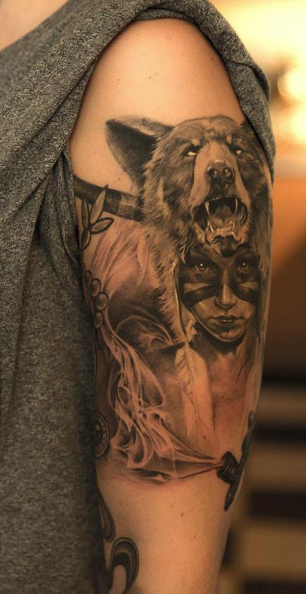 Superb Native American Tattoo On Arm With Black Ink For Man & Woman