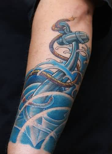 superb blue and water color ink anchor tattoo with roop for boys