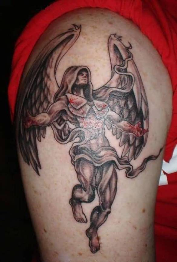 superb gray and red color ink Angel Tattoos on boy shoulder made by expert artist