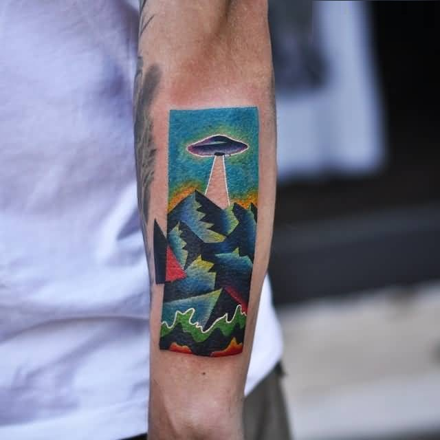 sweet blue and green color ink Ufo And Mountains Tattoo for boys