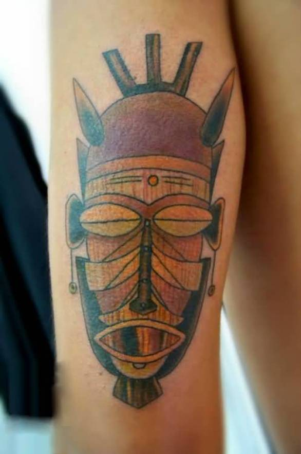 Sweet Red And Yellow Color Ink Old African Mask Tatto Made With Realistic Colors For Man