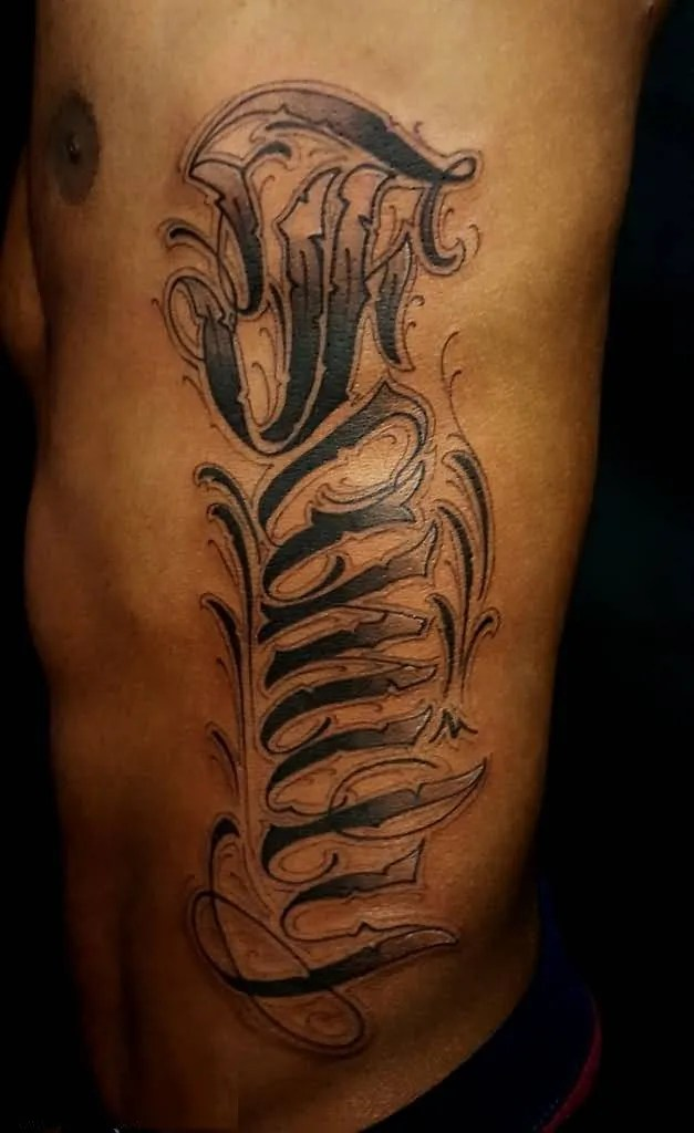 terrific black color ink tattoo of ambigram text for boys only