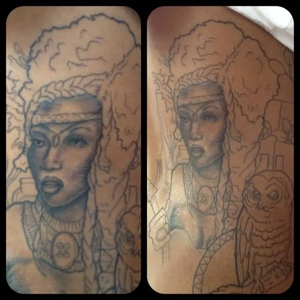 Terrific Blue Ink African Women Tattoo Outline For Man Is Back