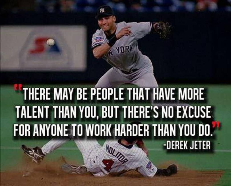 There May Be People That Have More Talent Than You But There No Excuse For Anyone To Work Harder Than You Do Derek Jeter