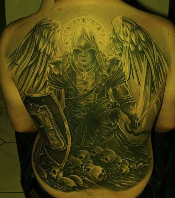 traditional green color ink angel warrior tattoo on boy's full shoulder for boys only made by expert
