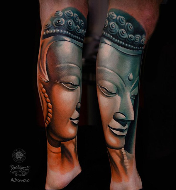 Trending Buddha Tattoo On Leg With Black Ink For Woman Man