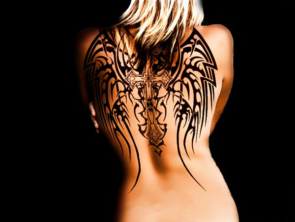 Trendy Angel Cross Wings Tattoo On Back With Black Ink For Man Woman