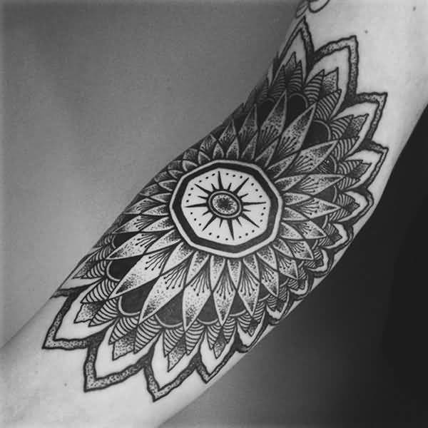 Trendy Mandala Tattoo With Black Ink On Elbow For Man Woman