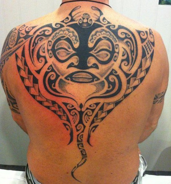 Trendy Manta Ray Tattoo On Back With Black Ink For Man And Woman