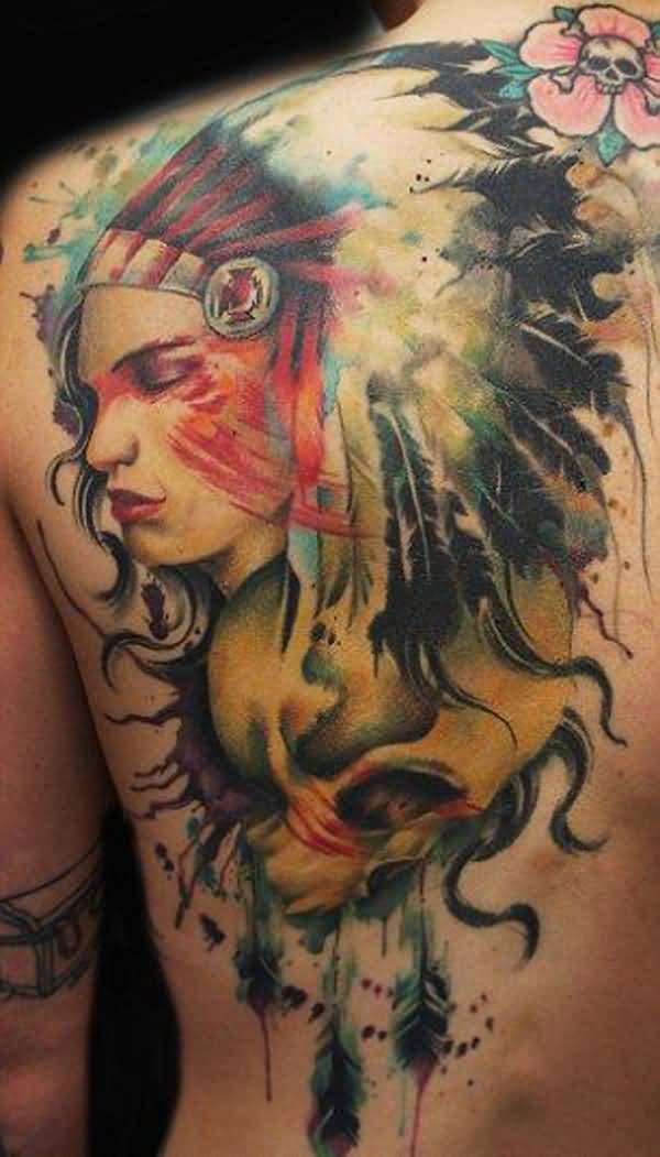 Trendy Native American Tattoo On Back With Colourful Ink For Man & Woman
