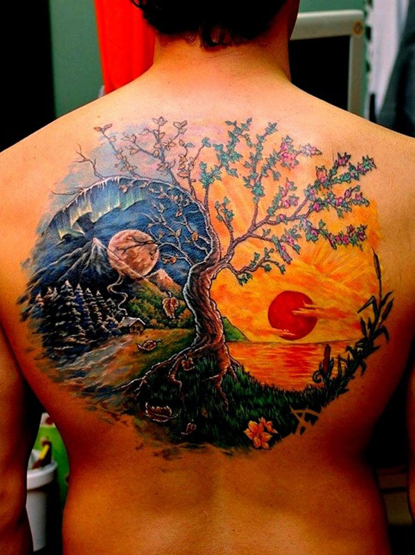 Trendy Yin Yang Tattoo Designs With Colourful Ink For Man Woman