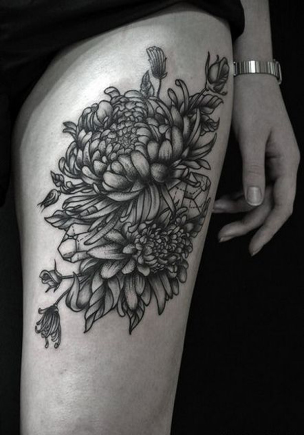 trendy chrysanthemum thigh tattoo on thigh With black ink For Man And Woma