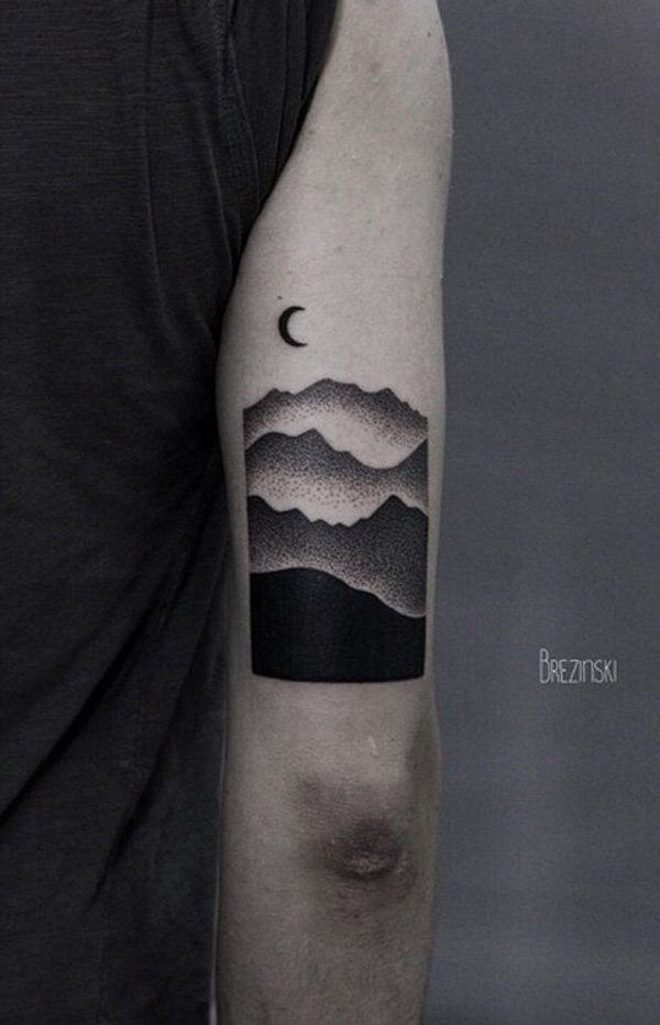 trendy mountain tattoo on hand With Black ink For Man And Woman