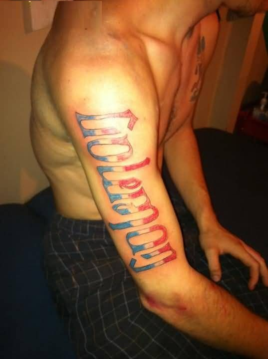 trendy red and blue color ink sleeve cover up with best ambigram tattoo for boys