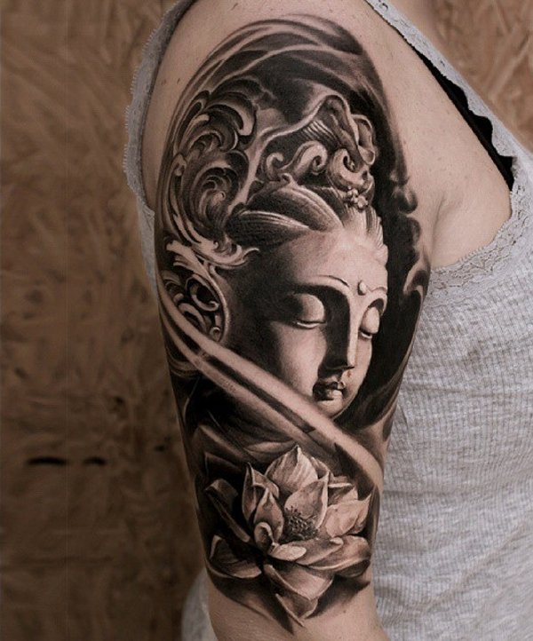 Ultimate Buddha And Louts Tattoo Half Sleeve With Black Ink For Woman