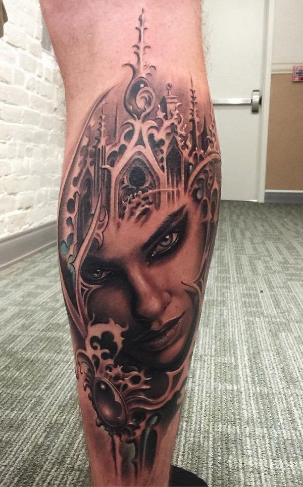Ultimate Calf Tattoo With Black Ink For Man Woman