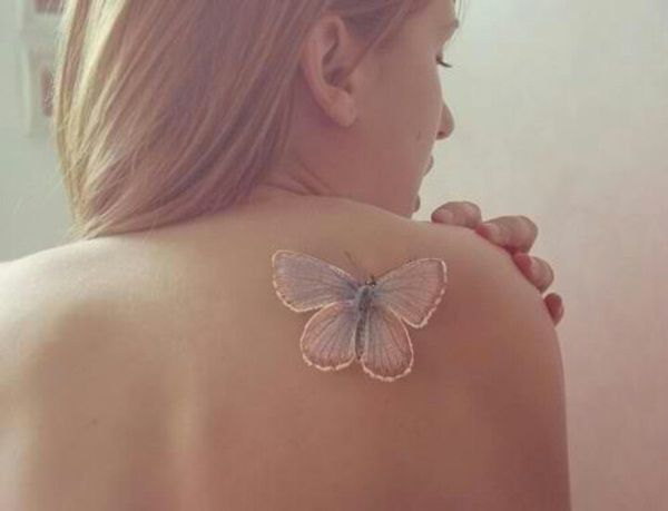 Unique 3D White Ink Butterfly Tattoo For Women On Back