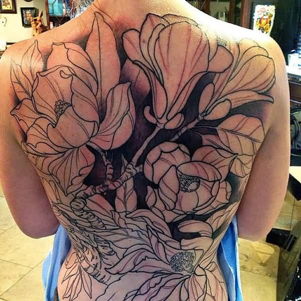 unique Magnolia back piece in progress by Nathaniel Gann on back With colourful ink For Man And Woman