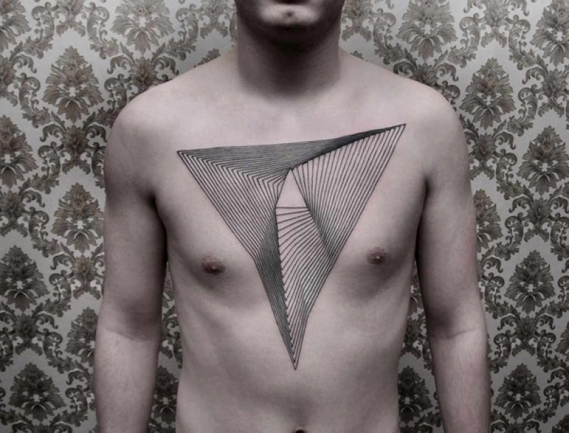 Unique Pattern Tattoo On Chest With Black Ink For Man &Amp; Woman