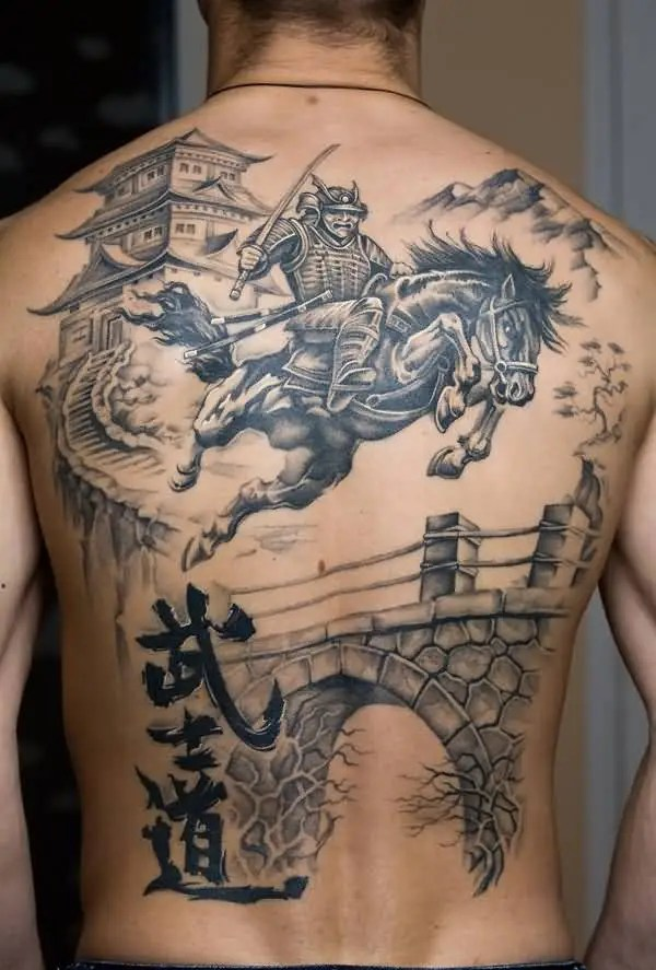 Unique Warrior Tattoo On Back With Black Ink For Women And Man Fighting Warrior Tattoo