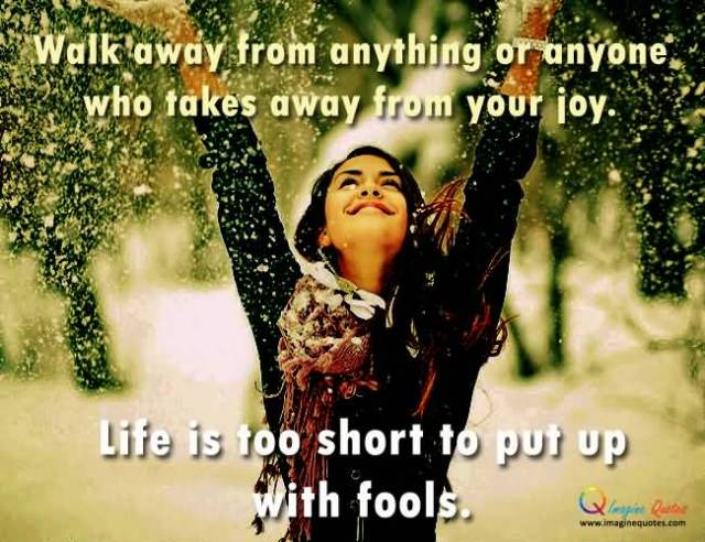 Walk Away From Anything Or Anyone Who Takes Away Form Your Joy Life Is Too Short To Put Up With Fools