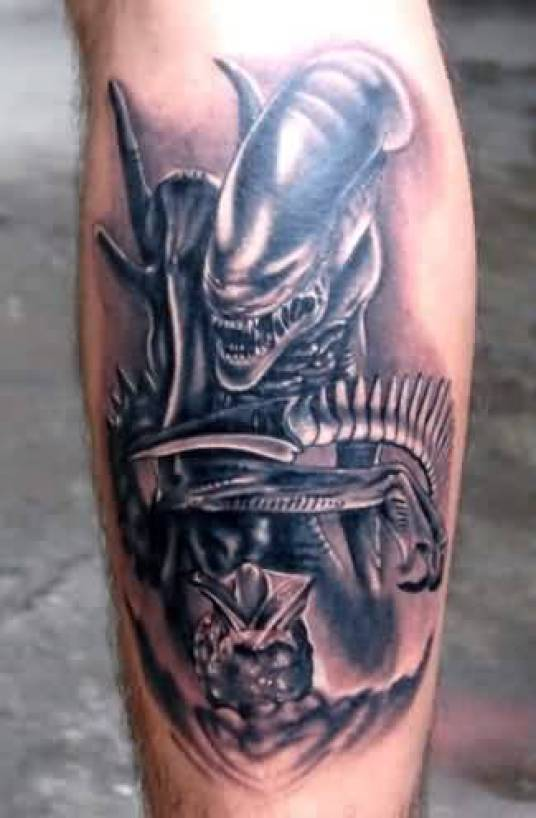 Weird Blue Color Ink Alien Predator Tattoo On Calf For Man
