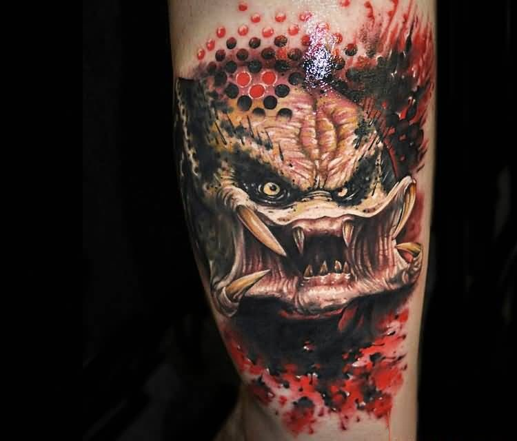 weird red and black color combination ink Predator Tattoo With Scary Teeth made by expert