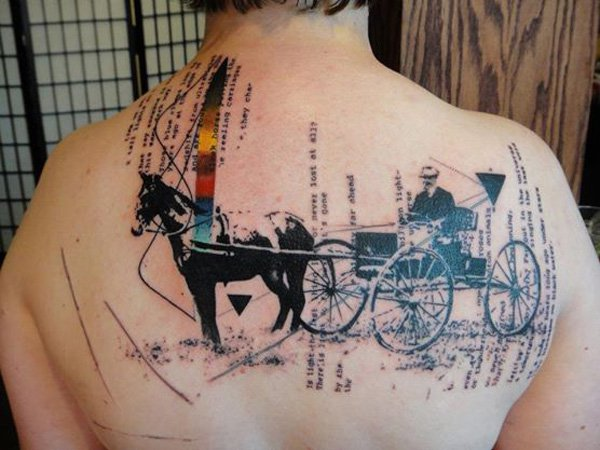 Wonderful Carriage Tattoo On Back With Black Ink For Women And Man
