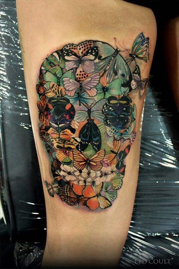 Wonderful Colorful Skull Tattoo With Colorful Ink For Man Woman