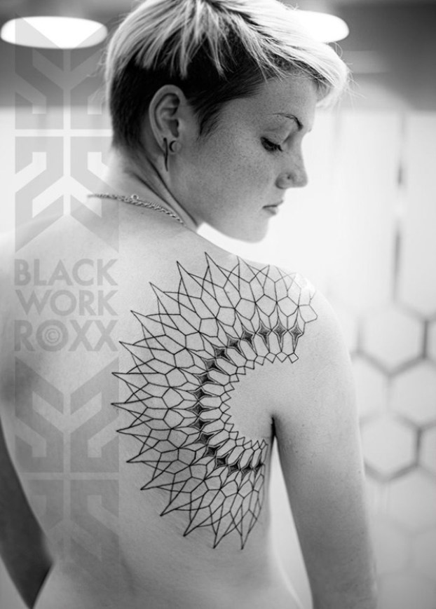 Wonderful Geometric Tattoo On Back With Black Ink For Man Woman